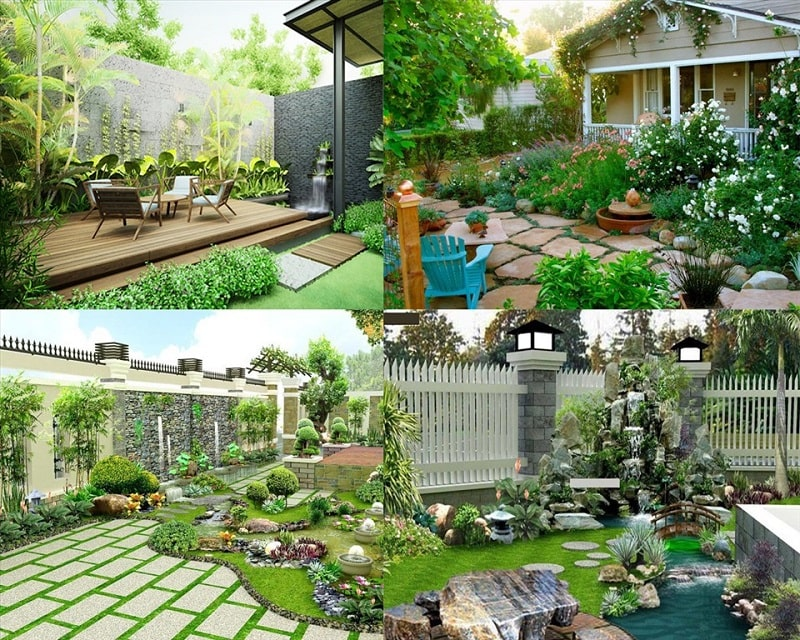 Mẫu sân vườn đẹp - Tiểu cảnh sân vườn
